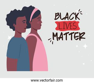 black lives matter, profile couple african, stop racism