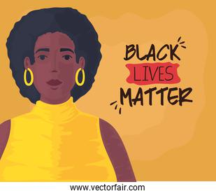black lives matter, cute woman african, stop racism concept