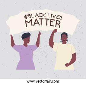 black lives matter, couple african with hands up, stop racism