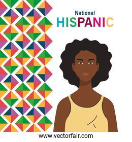 national hispanic heritage month, with cute woman afro