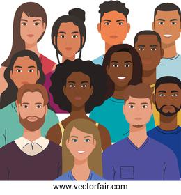 multiethnic group of people together, diversity and multiculturalism concept