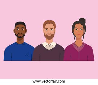 multiethnic, group of people together, diversity and multiculturalism concept