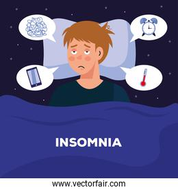 man with insomnia in bed with bubbles vector design
