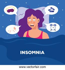 woman with insomnia and bubbles vector design