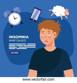 man with insomnia clock smartphone and sheep vector design