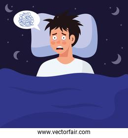 man with insomnia in bed vector design