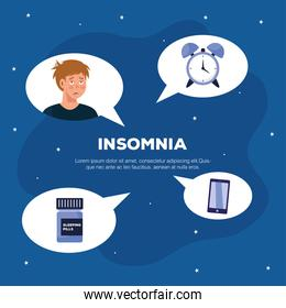 man with insomnia clock sleeping pills and smartphone in bubbles vector design