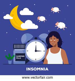woman with insomnia clock moon and sheeps vector design