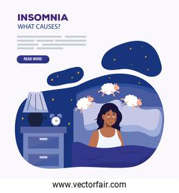 woman with insomnia and sheeps in bed vector design