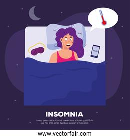 woman with insomnia with bed vector design