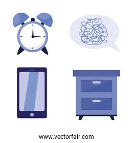 sleeping clock bubble smartphone and furniture vector design
