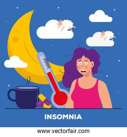woman with insomnia moon thermometer and coffee mug vector design