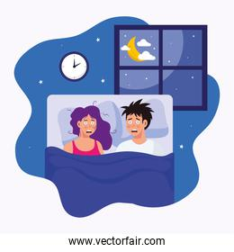 woman and man with insomnia in bed vector design