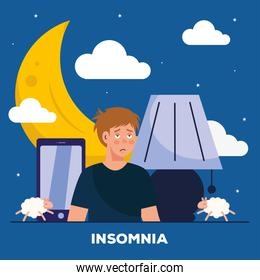 man with insomnia moon and smartphone vector design