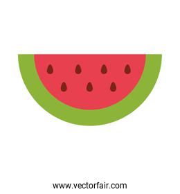 slice watermelon fruit tropical fresh flat icon style