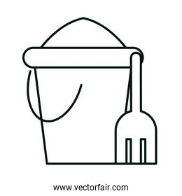 bucket with sand and shovel toys linear icon style white background