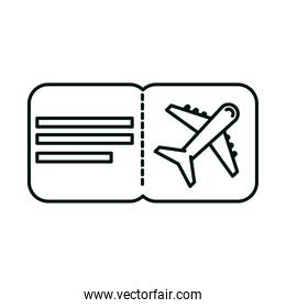 summer vacation travel, airline boarding pass ticket linear icon style