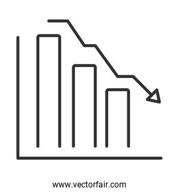 data analysis, chart report down arrow financial business line icon