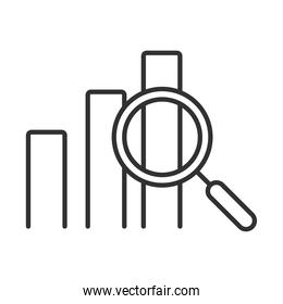 data analysis, statistics profit finance economy magnifier line icon