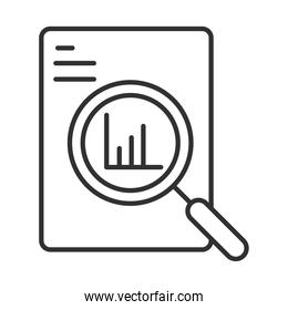 data analysis, document chart economy with magnifier line icon