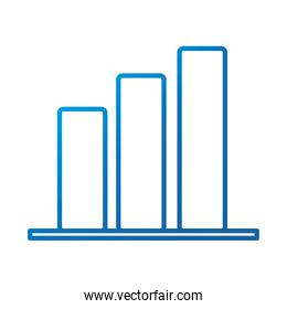data analysis, chart report growing arrow financial business, gradient blue line icon