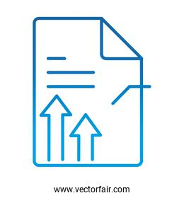 data analysis, information paper chart arrows financial business, gradient blue line icon