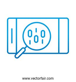 data analysis, smartphone binary code magnifier financial business, gradient blue line icon