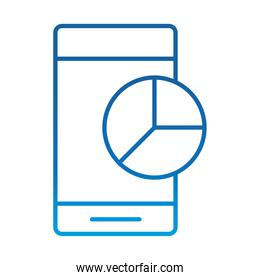 data analysis, smartphone pie chart report digital business strategy and investment, gradient blue line icon