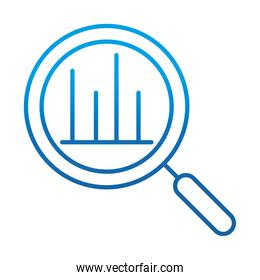 data analysis, magnifying glass diagram financial report, gradient blue line icon