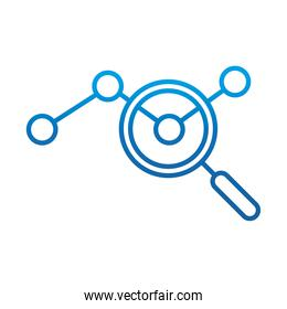 data analysis, magnifier dotted line chart marketing, gradient blue line icon