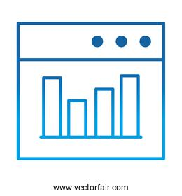 data analysis, website diagram finance optimization, gradient blue line icon