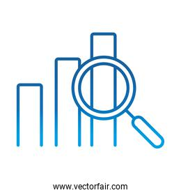 data analysis, statistics profit finance economy magnifier, gradient blue line icon