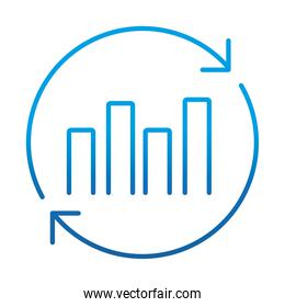data analysis, financial business report economy financial chart, gradient blue line icon