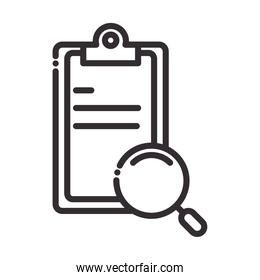 search icon, clipboard report document and magnifier thin line icon