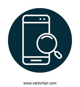 search icon, smartphone device magnifier app block and line icon