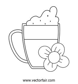 beer mug flower isolated icon over white background line style
