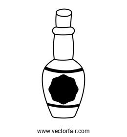 tequila bottle drink liquor isolated icon over white background line style