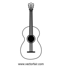 musical guitar instrument isolated icon over white background line style