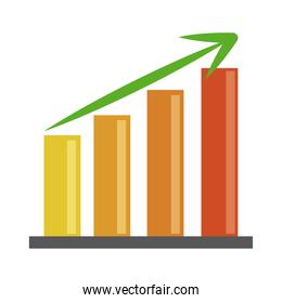 data analysis, chart report growing arrow financial business flat icon
