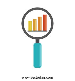 data analysis, magnifying glass diagram financial report flat icon