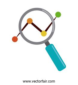 data analysis, magnifier dotted line chart marketing flat icon