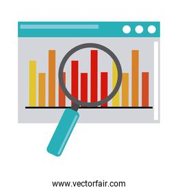 data analysis, website diagram finance magnifier optimization flat icon