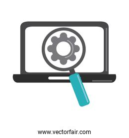 data analysis, laptop magnifier gear business strategy and investment flat icon