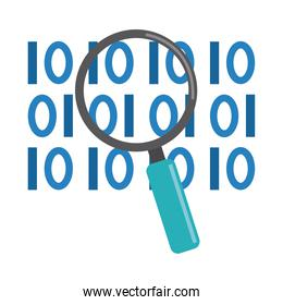 data analysis, magnifying glass binary digital development flat icon