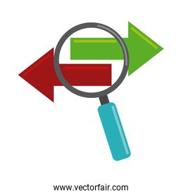 data analysis, magnifying glass searching information flow flat icon