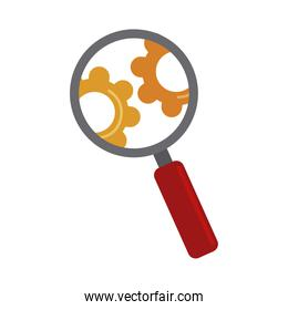 data analysis, magnifying glass gear engine optimization flat icon