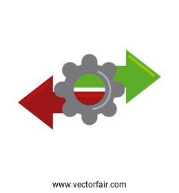data analysis, gear arrows information flat icon