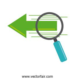 data analysis, magnifying glass research digital flat icon