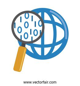 data analysis, magnifying glass world social management flat icon