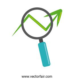 data analysis, magnifying glass profit arrow business flat icon